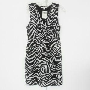 Boston Proper Dress Zebra Black White